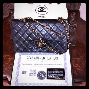 9e46706c3a2c ❤️Chanel double flap 25 quilted CC GOLD lambskin❤️
